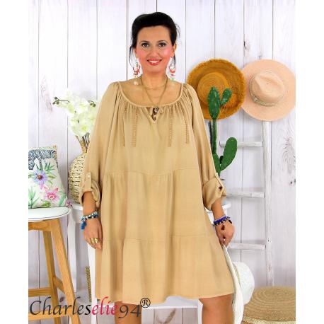 Tunique longue grande taille dentelle évasée JUNA camel Tunique femme grande taille
