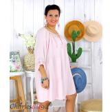 Tunique longue grande taille dentelle évasée JUNA rose Tunique femme grande taille