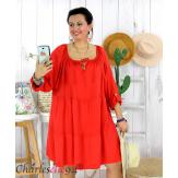 Tunique longue grande taille dentelle évasée JUNA rouge Tunique femme grande taille