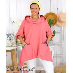 Tunique sweat capuche femme grande taille RAMIE rose Tunique femme grande taille