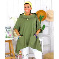 Tunique sweat capuche femme grande taille RAMIE kaki Tunique femme grande taille