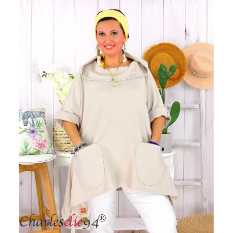Tunique sweat capuche femme grande taille RAMIE beige Tunique femme grande taille