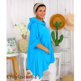 Tunique sweat capuche femme grande taille RAMIE turquoise Tunique femme grande taille