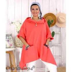 Tunique sweat capuche femme grande taille RAMIE corail Tunique femme grande taille