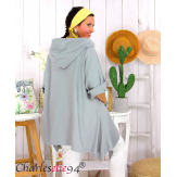 Tunique sweat capuche femme grande taille RAMIE gris Tunique femme grande taille