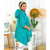 Tunique sweat capuche femme grande taille RAMIE vert Tunique femme grande taille