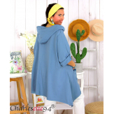 Tunique sweat capuche femme grande taille RAMIE bleu jean Tunique femme grande taille
