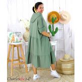 Robe capuche sweat stretch grande taille BOTELIO kaki Robe longue grande taille