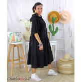 Robe capuche sweat stretch grande taille BOTELIO noire Robe longue grande taille