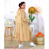 Robe capuche sweat stretch grande taille BOTELIO camel Robe longue grande taille