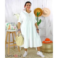 Robe capuche sweat stretch grande taille BOTELIO blanche Robe longue grande taille