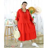 Robe capuche sweat stretch grande taille BOTELIO rouge Robe longue grande taille