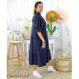Robe capuche sweat stretch grande taille BOTELIO marine Robe longue grande taille
