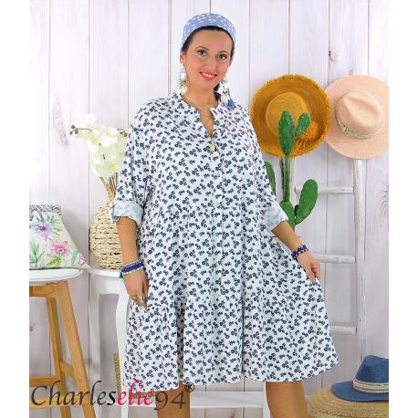 Robe chemise longue fleurie grande taille été SURINA blanche Robe grande taille
