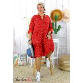 Robe chemise longue fleurie grande taille été SURINA rouge Robe grande taille