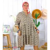 Robe chemise longue fleurie grande taille été SURINA camel Robe grande taille
