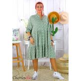 Robe chemise longue fleurie grande taille été SURINA kaki Robe grande taille