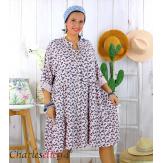Robe chemise longue fleurie grande taille été SURINA rose Robe grande taille