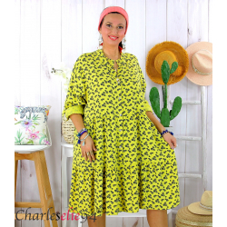 Robe chemise longue fleurie grande taille été SURINA jaune Robe grande taille