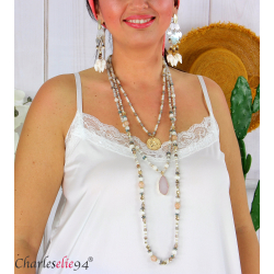 Sautoir collier long 3 rangs perles verre résine bohème C174 Collier sautoir fantaisie