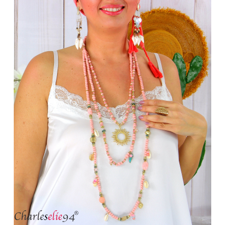 Sautoir collier long 3 rangs perles verre bois breloques C175 Collier sautoir fantaisie