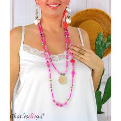 Sautoir collier long 2 rangs perles verre breloques C176 Collier sautoir fantaisie