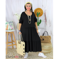 Robe été femme grande taille volants stretch MORA noire Robe été grande taille
