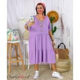 Robe été femme grande taille volants stretch MORA parme Robe été grande taille