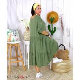 Robe été femme grande taille volants stretch MORA kaki Robe été grande taille