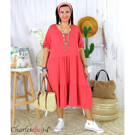 Robe été femme grande taille volants stretch MORA framboise Robe été grande taille