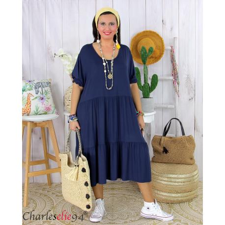 Robe été femme grande taille volants stretch MORA marine Robe été grande taille