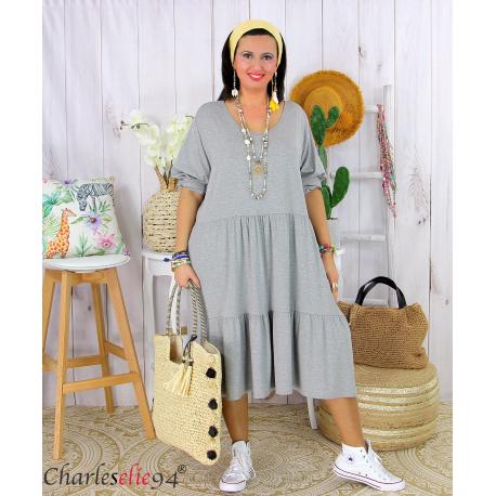 Robe été femme grande taille volants stretch MORA grise Robe été grande taille