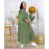 Robe à capuche stretch grande taille été MARTY kaki Robe longue grande taille