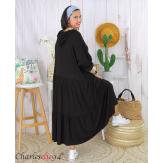 Robe à capuche stretch grande taille été MARTY noire Robe longue grande taille
