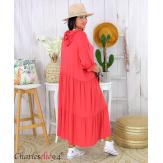 Robe à capuche stretch grande taille été MARTY framboise Robe longue grande taille