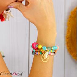 Bracelet 3 rangs perles verre résine breloques BRB2 Bijoux fantaisie