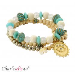 Bracelet 3 rangs perles verre résine breloques BRB1 Bijoux fantaisie