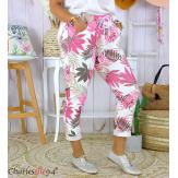 Pantalon femme grande taille stretch été FIGARI fuchsia Pantalon femme grande taille