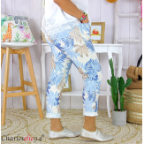 Pantalon femme grande taille stretch été FIGARI bleu ciel Pantalon femme grande taille