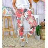 Pantalon femme grande taille stretch été FIGARI rouge Pantalon femme grande taille