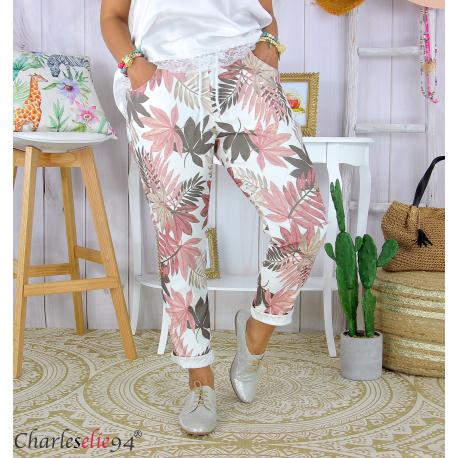 Pantalon femme grande taille stretch été FIGARI rose Pantalon femme grande taille