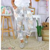 Pantalon femme grande taille stretch été FIGARI gris Pantalon femme grande taille