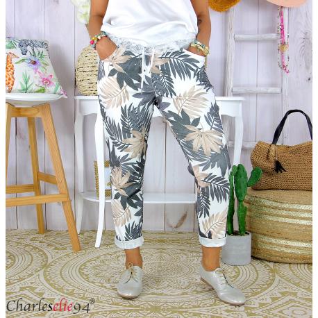 Pantalon femme grande taille stretch été FIGARI noir Pantalon femme grande taille