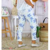 Pantalon femme grande taille stretch été BIOCCA bleu Pantalon femme grande taille