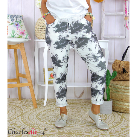 Pantalon femme grande taille stretch été BIOCCA noir Pantalon femme grande taille