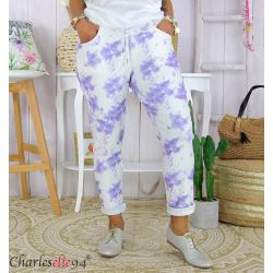 Pantalon femme grande taille stretch été BIOCCA lilas Pantalon femme grande taille