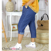 Pantacourt jean stretch femme grande taille été BILBAO Jean femme