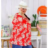 Tunique blouse été fleurie pompons grande taille PASQUA rouge Tunique été femme