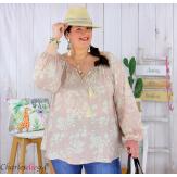 Tunique blouse été fleurie pompons grande taille PASQUA rose Tunique été femme