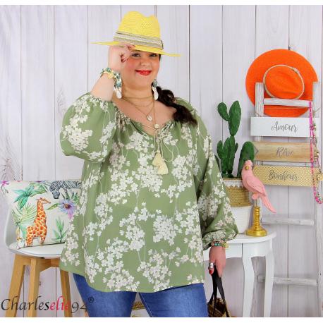 Tunique blouse été fleurie pompons grande taille PASQUA kaki Tunique été femme